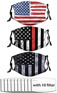 3Pcs Face Mask with Filter Pocket and 10 Filters Washable Face Bandanas Balaclava Reusable Fabric Mask for Men
