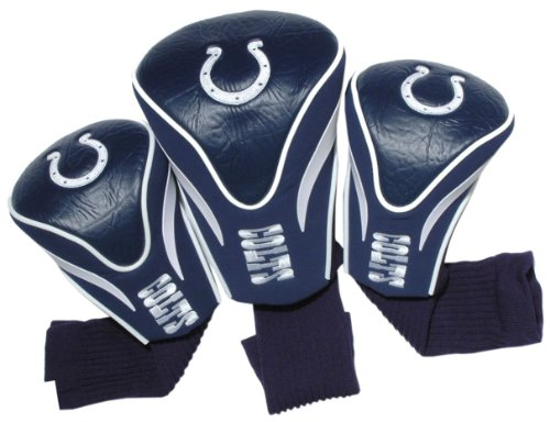 Team Golf NFL Indianapolis Colts Contour Golf Club Headcovers (3 Count), Numbered 1, 3, & X, Fits Oversized Drivers, Utility, Rescue & Fairway Clubs, Velour lined for Extra Club Protection ()
