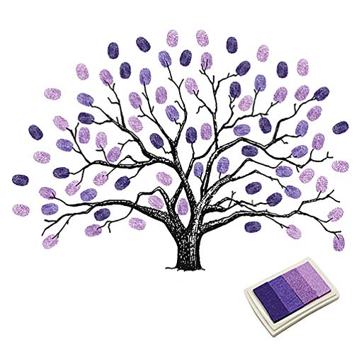 (Fingerprints Tree, Proboths Creative Wedding Guest Signature Sign-in Book Canvas Ballons Tree Fingerprints Painting Decor for Wedding Party with 4pcs Ink Pads Purple)
