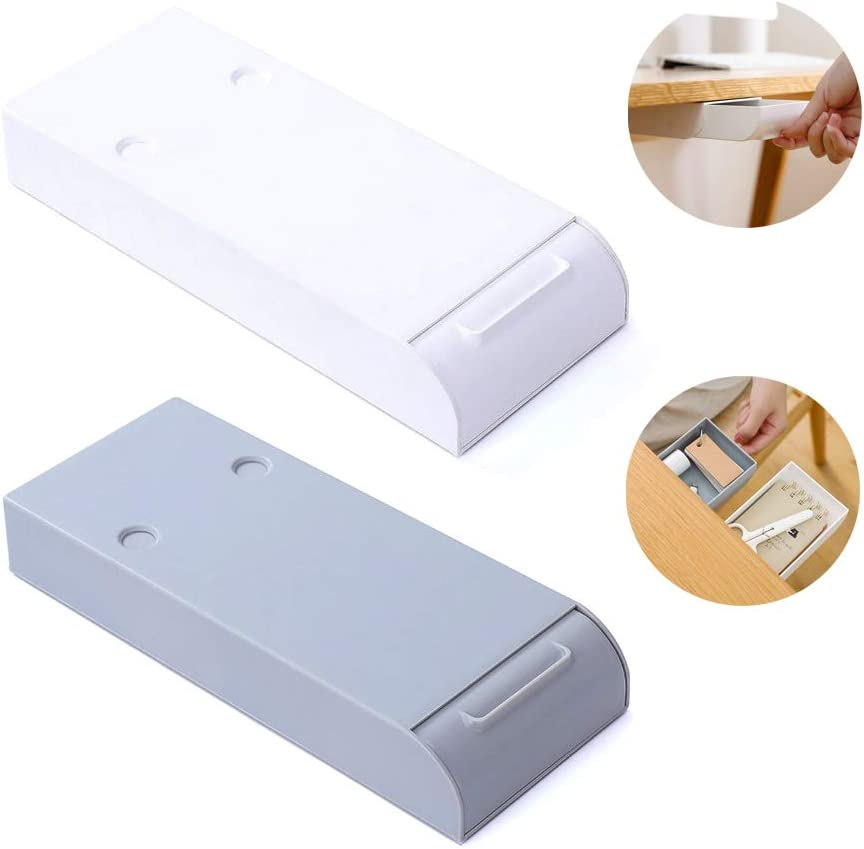2-Pack Self-Adhesive Pencil Tray Drawer, Hidden Desktop Hanging Organizer Provides Under Desk Storage for Pens Pencils Phones Paper Clips, and More (White & Gray)