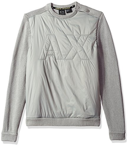 A|X Armani Exchange Men's Cotton Pullover with Padded Logo, Wild Dove, Large by A|X Armani Exchange