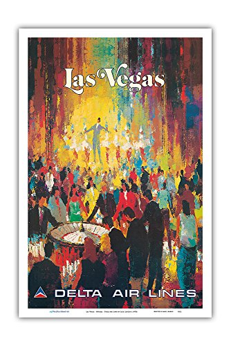 Pacifica Island Art Las Vegas - Nevada - Delta Air Lines - Vintage Airline Travel Poster by Jack Laycox c.1970s - Master Art Print - 12in x 18in