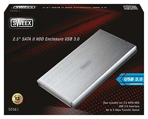 Disco duro en red Sweex ST061 2.5 Plata storage drive enclosure 2.5, Serial ATA II, 1 TB, Plata, 5 Gbit//s, 155 mm