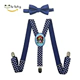 Dog is Love Unisex Suspenders And Pre-Tied Bowtie Set For children Casual And Formal blue