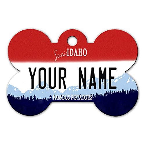 BleuReign(TM) Personalized Custom Name Idaho State License Plate Bone Shaped Metal Pet ID Tag with Contact Information