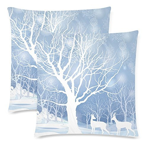 InterestPrint Custom 2 Pack Christmas Snow Winter Landscape with Deer 18x18 Cushion Pillow Case Cover Twin Sides, Abstract Winter Forest Cotton Zippered Throw Pillowcase Protector Set Decorative