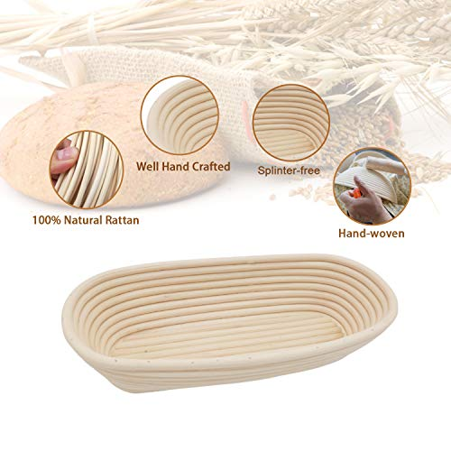 10-inch Oval Bread Proofing Basket - LinkMall Baker/Men/Women's Home Kitchen Home Made Bread Professional Baking Bowl - 5 Piece Set. (25x25x8 CM)