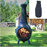 Blue Rooster Dragonfly Style Wood Burning Outdoor Metal Chiminea Fireplace Antique Green Color with Large Black Cover