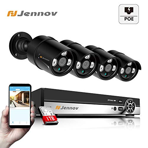 4 Channel POE Security Camera System, Jennov POE Security Camera CCTV NVR Kit System Power Over Ethernet 4 HD Outdoor suveillance Cameras 1080P Plug&Play Motion Detection Free APP 1TB HDD Hard Drive