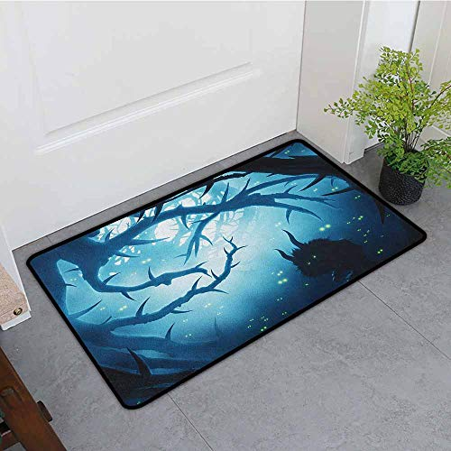 ONECUTE Funny Doormat,Mystic Animal with Burning Eyes in The Dark Forest at Night Horror Halloween Illustration,All Season Universal,24