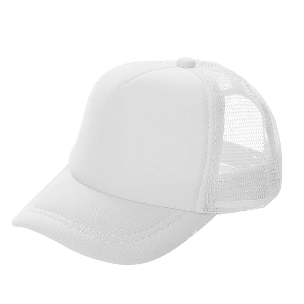 Opromo Kids Two Tone Mesh Curved Bill Trucker Cap, Adjustable Snapback, 14 Colors-White-48 Pieces