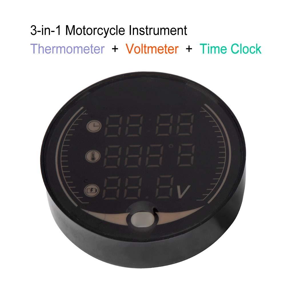 Thermom/ètre de moto 3 en 1 Voltm/ètre Jauge num/érique Temp/érature Horloge
