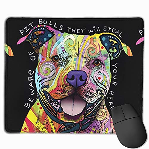 Large Mouse Pad with Cute Animal Design Watercolor Pit Bull Dog Splash Art for Computer Office Gaming Gifts,11.8x9.8x0.09 Inch