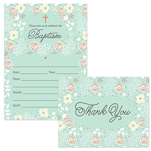 Baby Baptism Invitations & Matched Thank You Cards Set (25 of Each) with Envelopes Beautiful Mint Floral Design Fill-in-Style Invites & Folded Thank You Notes Church Christening Excellent Value Pair