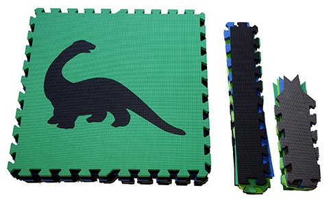 SoftTiles Children's Foam Playmat - Jurassic Dinosaur Theme - Non-Toxic Interlocking Floor Tiles for Toddler Playrooms/Baby Nursery - Black, Blue, Green, Lime, and Gray (6.5' x 6.5') SCDBGLG by SoftTiles (Image #1)