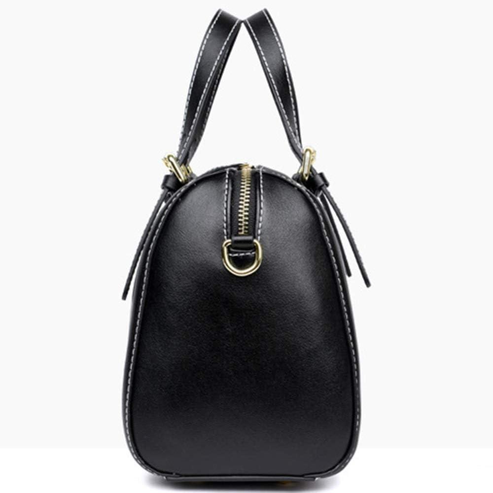 zZZ Nero/Rosso/Bruno Europeo E Portatile in Pelle Americano in Pelle Messenger Bag Retro Boston Pillow Bag 25 * 12 * 30 (cm) Moda (Colore : Black) Black