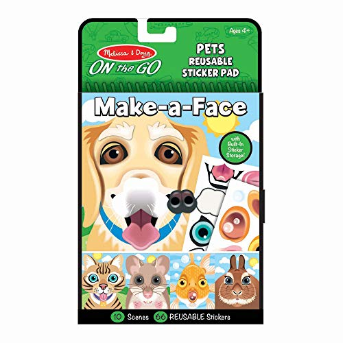 Melissa & Doug On The Go Make-a-Face Reusable Sticker Pad Travel Toy Activity Book - Pet Animals (10 Scenes, 65 Cling Stickers, Great Gift for Girls and Boys - Best for 4, 5 and 6 Year Olds)