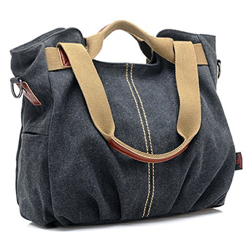 Women Ladies Canvas Tote Purse Handbags Messenger Shoulder Bags Daily Casual Vintage Hobo for Shopping Working-Black (Messenger Eco Canvas Friendly)