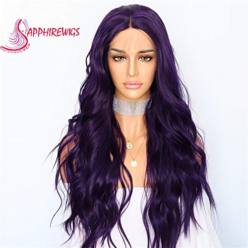 Sapphirewigs Purple Color Daily Makeup Synthetic Lace Front Wedding Party Wigs