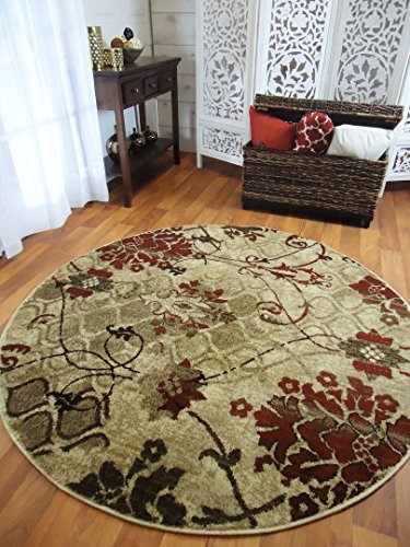 Round Rugs 6ft Burgundy Reds Circle Rugs for Living Room (Burgundy Round Rug)