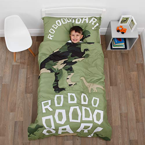 Olive Kids Collection - Everything Kids Dinosaur Green Camouflage 4Piece Toddler Bed Set - Comforter, Fitted Bottom Sheet, Flat Top Sheet, Standard Size Pillowcase, Green, Olive, White