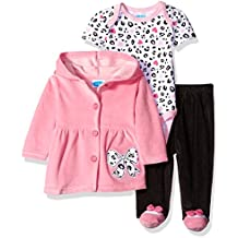 Bon Bebe Baby Girls' 3 Piece Set with Velour Jacket Pant and Bodysuit