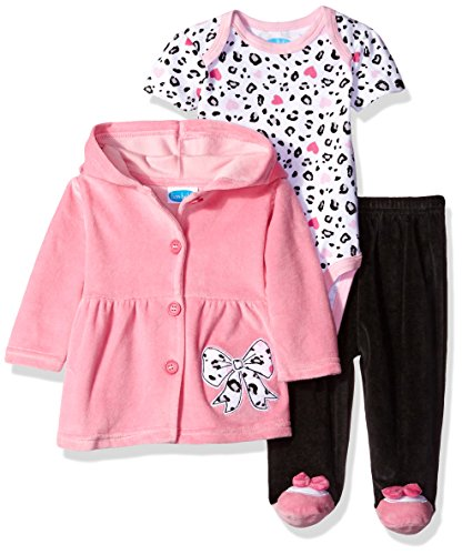 Bon Bebe Baby Girls' 3 Piece Set with Velour Jacket Pant and Bodysuit, Pink Bow, 3-6 Months ()