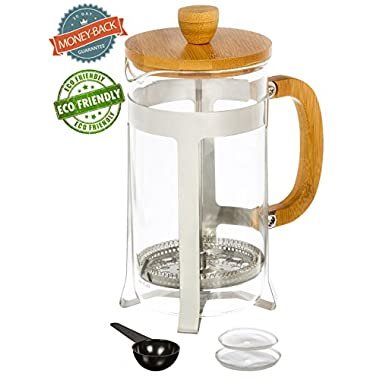Urban Galley French Press Coffee Espresso Tea Maker (8 Cup 1000ml 34oz) with Stainless Steel Plunger, Pyrex Glass and Bamboo Wood