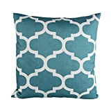 Decorative Pillow Cover - Puredown Canvas Decorative Cushion Covers Sofa Chair Seat Throw Pillow Case Quatrefoil Print Square 18X18 Inch Teal