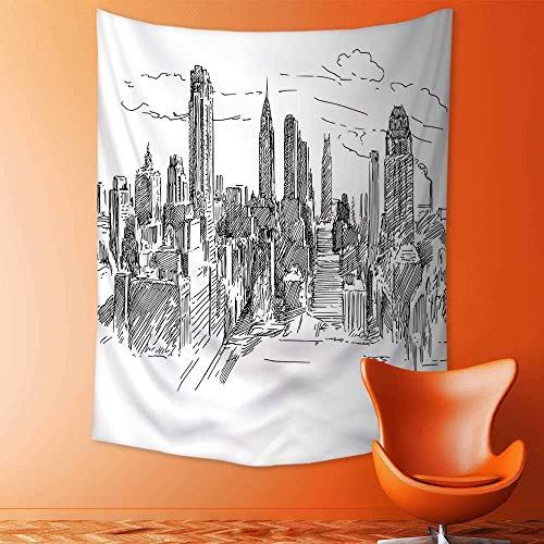 adshdjfbdjh2 Elastic Fabric Tapestry,Decor Hand Drawn NYC Cityscape Tourism Travel Industrial Center Town Modern City Design Home Decor 100x150 ()