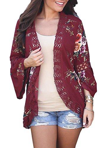 Autunno e inverno Donne Moda Maglioni Maglieria Rose Stampe Blazer Cardigan Maniche a Campana con Pizzo Giacca Cappotto Tops Kimono Vino rosso