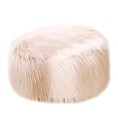 Luonita Inflatable Chair Stool Ottoman Faux Fur Plush Luxury Soft Sofa Stool Pluffy Cube Foot Rest Footstool for Women Girls Living Room, Changing Room, Bedroom (Khaki,B, 19.68 x 19.68 x 9.84in): Home & Kitchen