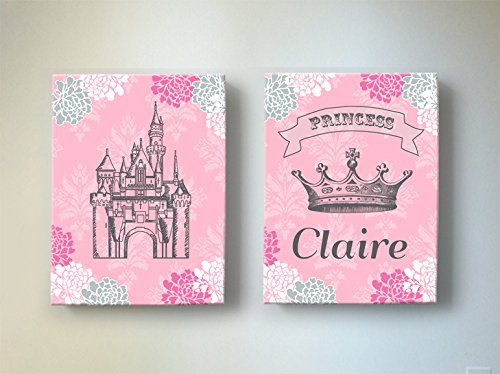 Girls Personalized Princess Nursery Canvas Wall Decor - Unique Castle & Crown Floral Theme, Make Great Baby Shower Art Gifts - For Bedrooms & Playrooms - Choose From Designer Colors & Sizes