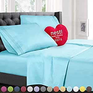 Split King Size Bed Sheets Set, Light Blue Aqua, Best Quality Bedding Sheet Set, 5-Piece Bed Set, Extra Deep Pockets Fitted Sheets, 100% Luxury Soft Microfiber, Hypoallergenic, Cool & Breathable