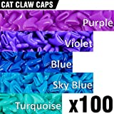 100 pcs Soft Cat Claw Caps for Cats Nail Claws 5X Colors + 5X Adhesive Glue + 5X Applicator - Pet Tips Cover Paws Soft Covers (S - Purple - Violet - Blue - Sky Blue - Turquoise)