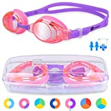 ZABERT K2 Kids Swimming Goggles For Girls Boys Junior Childs Children Toddler Age 0-6 4-6 6-14 Years Old Swim Goggles Pink Purple Violet, Anti Fog UV Protection Wide Vision Silicone - Free Protection Case Nose Clip Ear Plugs