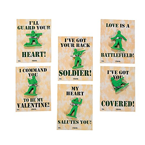 24 Classroom Army Guy Valentine Cards with Soldier Erasers