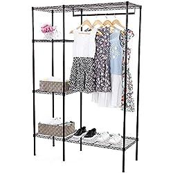 SONGMICS Extra-Large Shelving Garment Rack Heavy Duty Portable Clothes Wardrobe Free-Standing Closet Storage Organizer ULGR12P