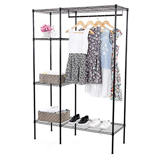 SONGMICS Shelving Garment Rack Heavy Duty Clothes Closet Black ULGR12P