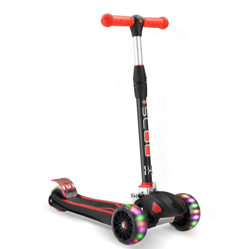 MX El vehículo de cuatro ruedas del triciclo de la vespa de los niños del flash de la moda puede levantar el doblar,Negro,Un tamaño XM