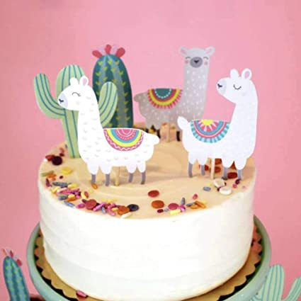 Amazon CheeseandU 50 Pieces Alpaca Decorative Cupcake Toppers