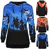 MOKO-PP Women Hooded Halloween Moon Bat Print Drawstring Pocket Hoodie Sweatshirt Tops