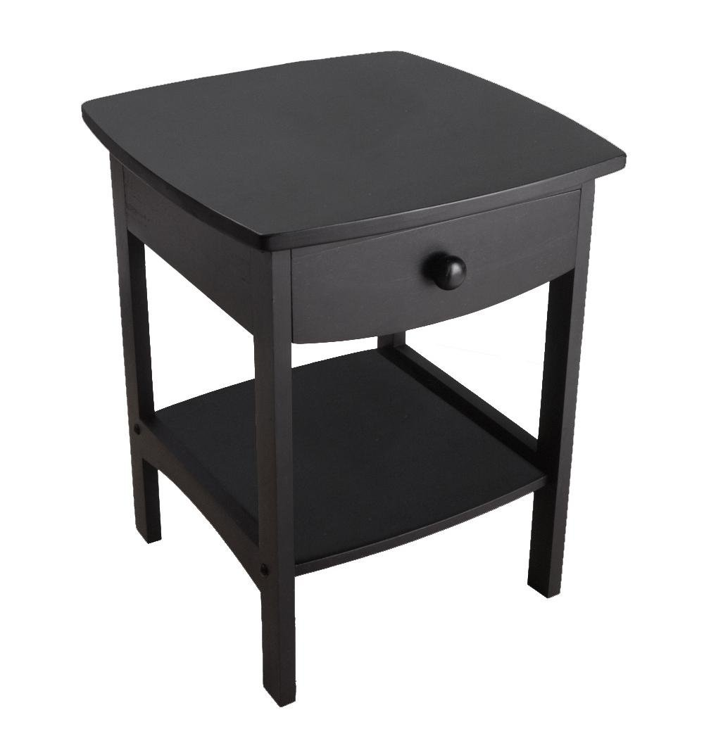 Modern One-Drawer Nightstand - End Table With Solid Beech Wood Construction, Curved, Smooth Design, Bottom Shelf For Extra Storage, Profiled Top, Ideal For Any Home Style, Multiple Colors by B-B-WHOLESALE LLC