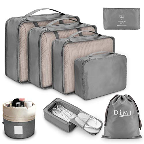 Packing Cubes for Suitcase, DIMJ 8 PCS Travel Luggage Organiser Set High Quality Durable Travel Essentials Bag Clothes Shoes Cosmetics Toiletries Cable Storage Bags (Grey a)
