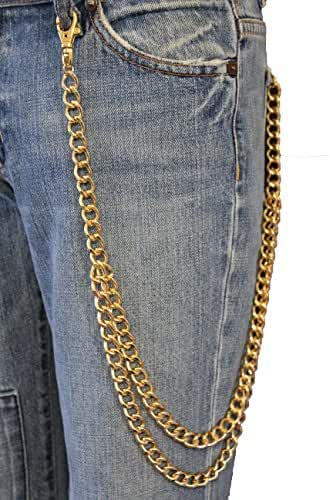 TFJ Men's Biker Fashion Wallet Chain Keychain Classic Style Metal 2 Strands Long Gold