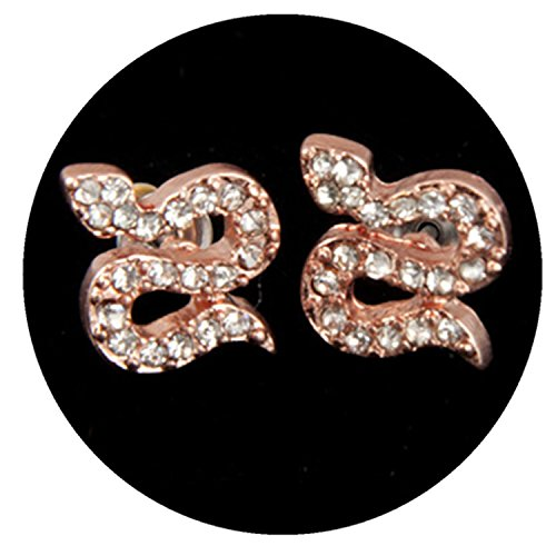 Dot & Line Rose gold crystal pave snake stud earrings
