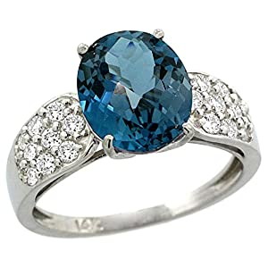 14k White Gold Natural London Blue Topaz Ring Oval 10x8mm Diamond Accent, 7/16inch wide, size 9.5