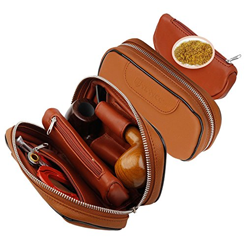 Ylyycc-leather-pipe-tobacco-pouch-case-with-2-pipe-holder-pocket-brown