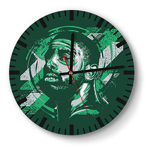 Design Basketball Game Theme Wooden Wall Clock 11 Inch Round Acrylic Non Ticking Silent Sweep Movement Simple Battery Operated Easy to Hang Home Office School Indoor Kitchen Livingroom