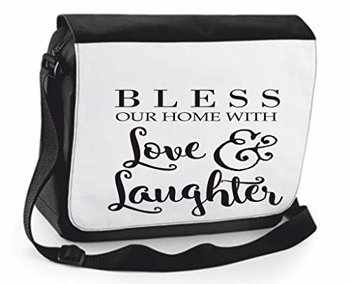 Cute Laughter Handbag Crossbody Cover Shoulder This Black Love Statement Compartment House Large Messenger And Bag Case Family With Traveling Bless 6YBxXZx